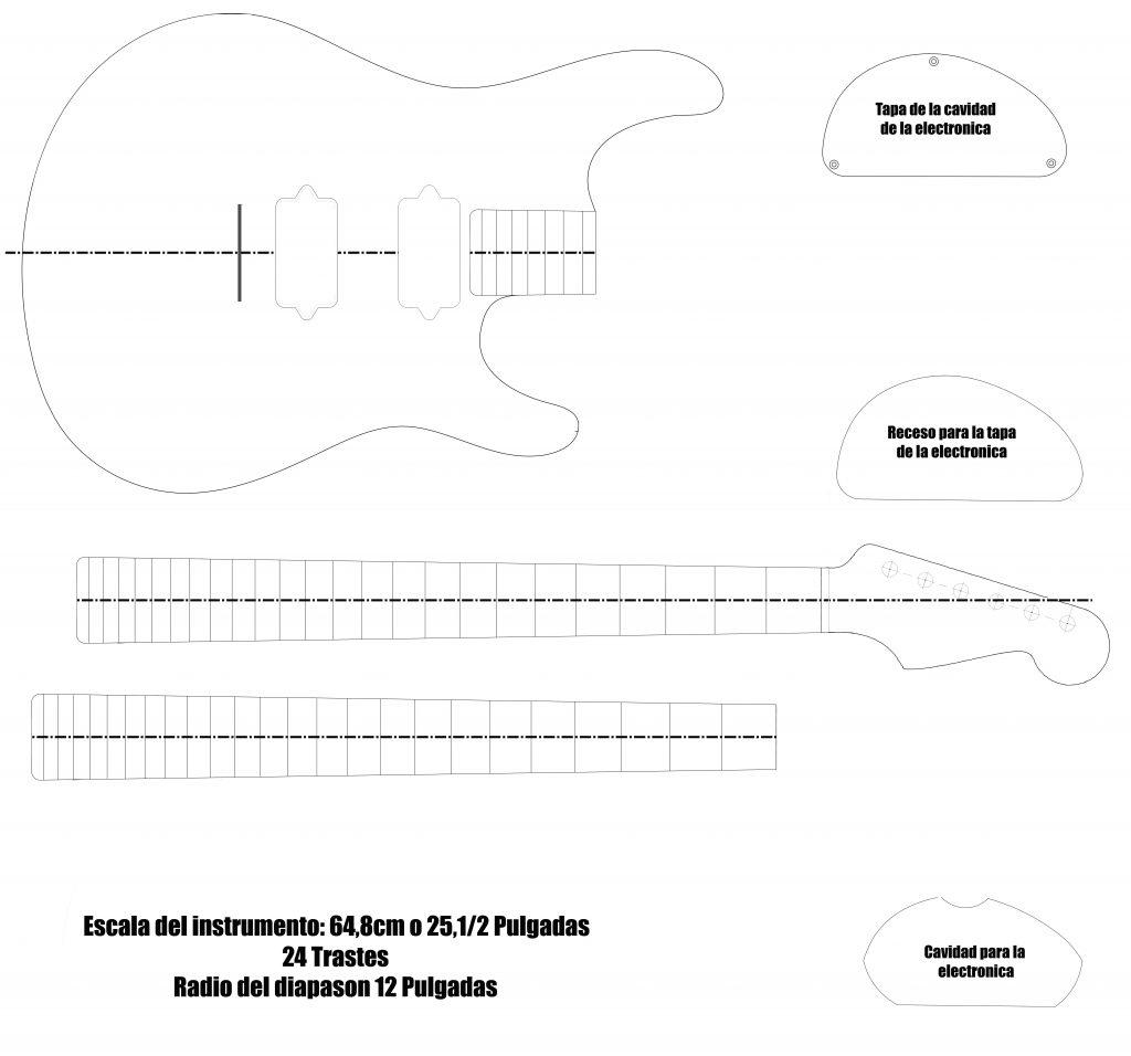 Plantilla de guitarra Una plantilla descargable de una guitarra